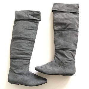 Dooballo Gray Over the Knee Convertible Boots
